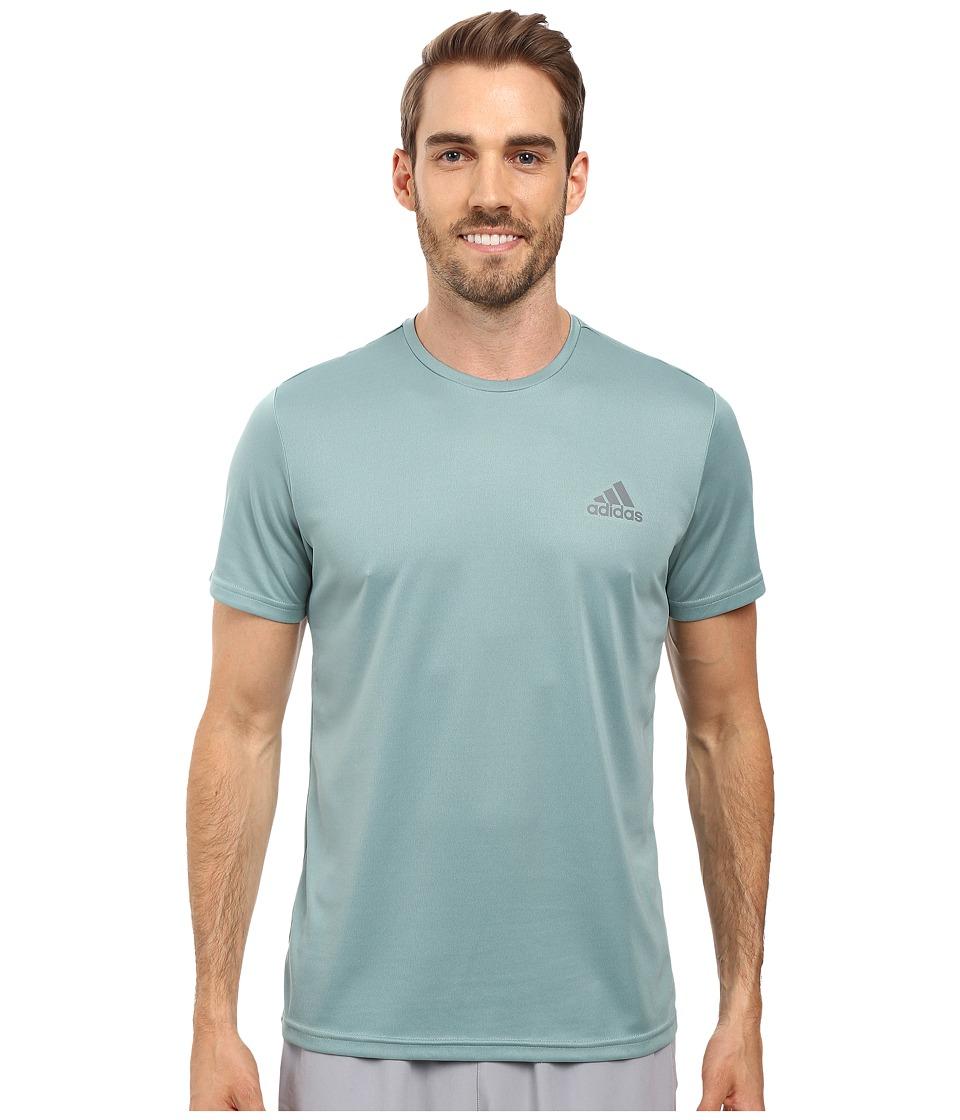 adidas - Essential Tech Crew Tee (Vapour Steel/Vista Grey) Men