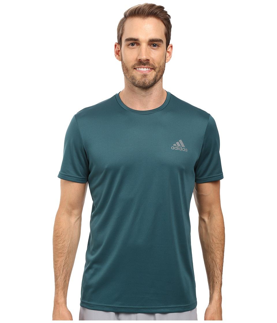 adidas - Essential Tech Crew Tee (Tech Green/Vista Grey) Men