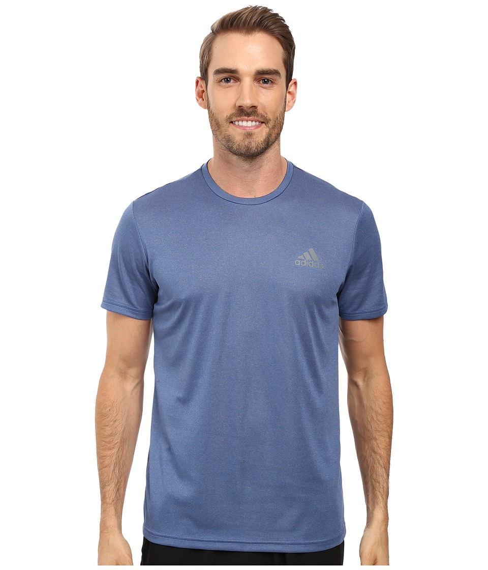 adidas - Essential Tech Crew Tee (Collegiate Royal Heather/Vista Grey) Men