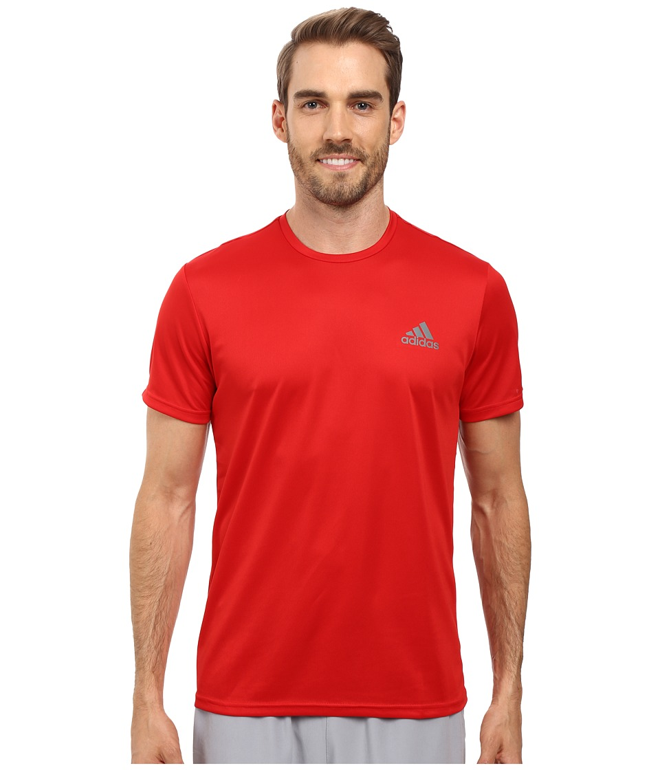 adidas - Essential Tech Crew Tee (Scarlet/Vista Grey) Men