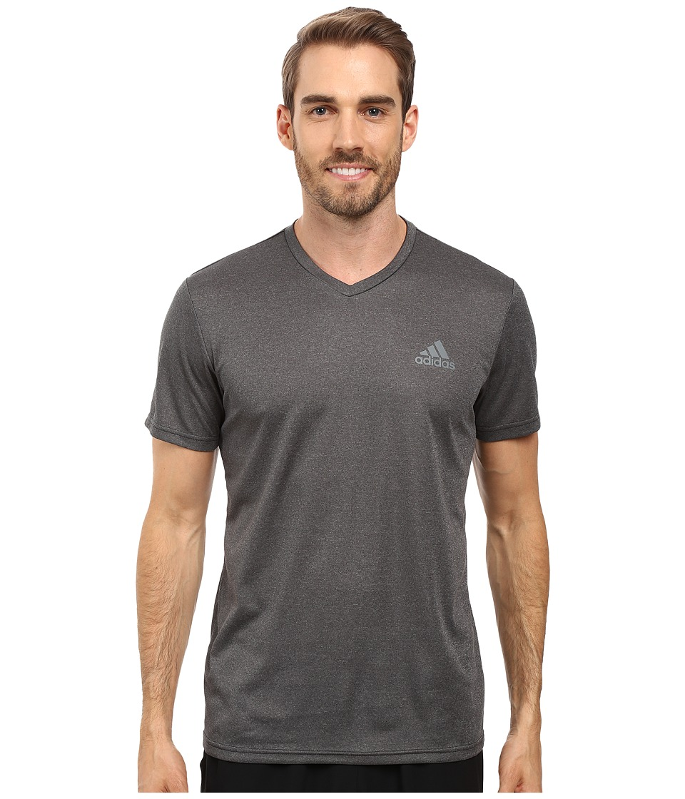 adidas - Essential Tech V-Neck Tee (Dark Grey Heather/Vista Grey) Men