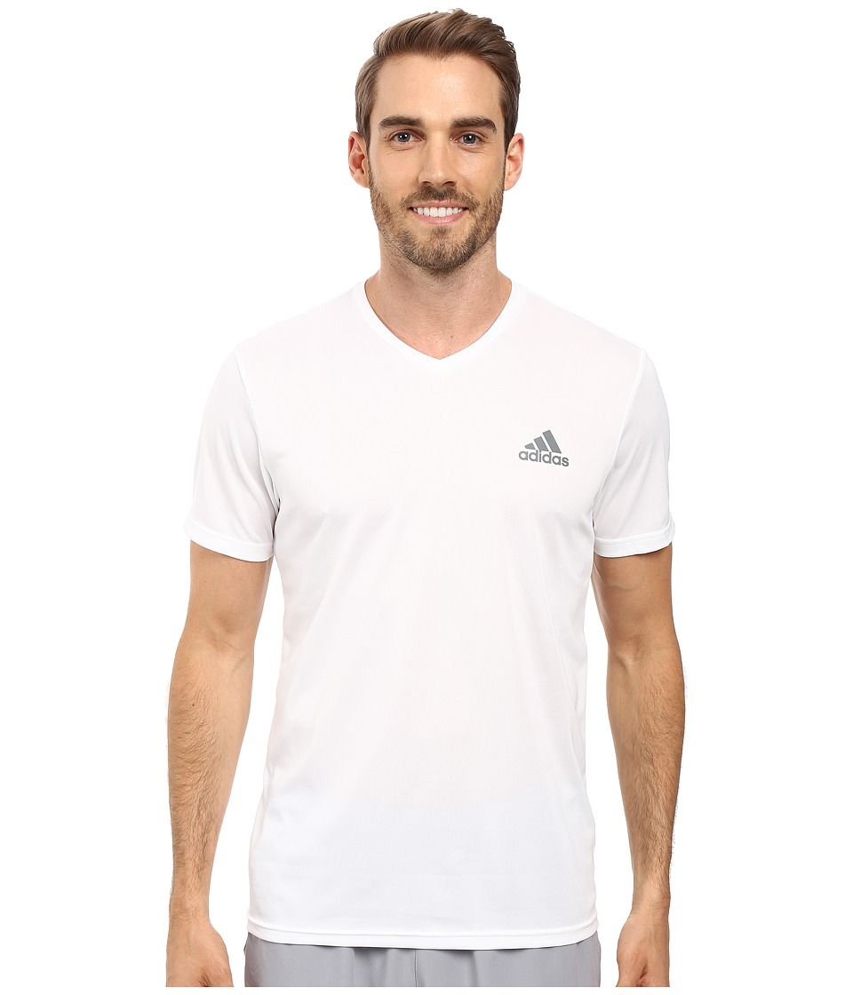 adidas Essential Tech V-Neck Tee (White/Vista Grey) Men