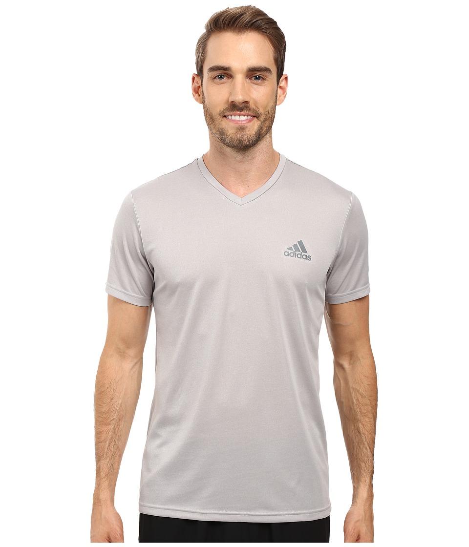 adidas Essential Tech V-Neck Tee (Medium Grey Heather/Vista Grey) Men