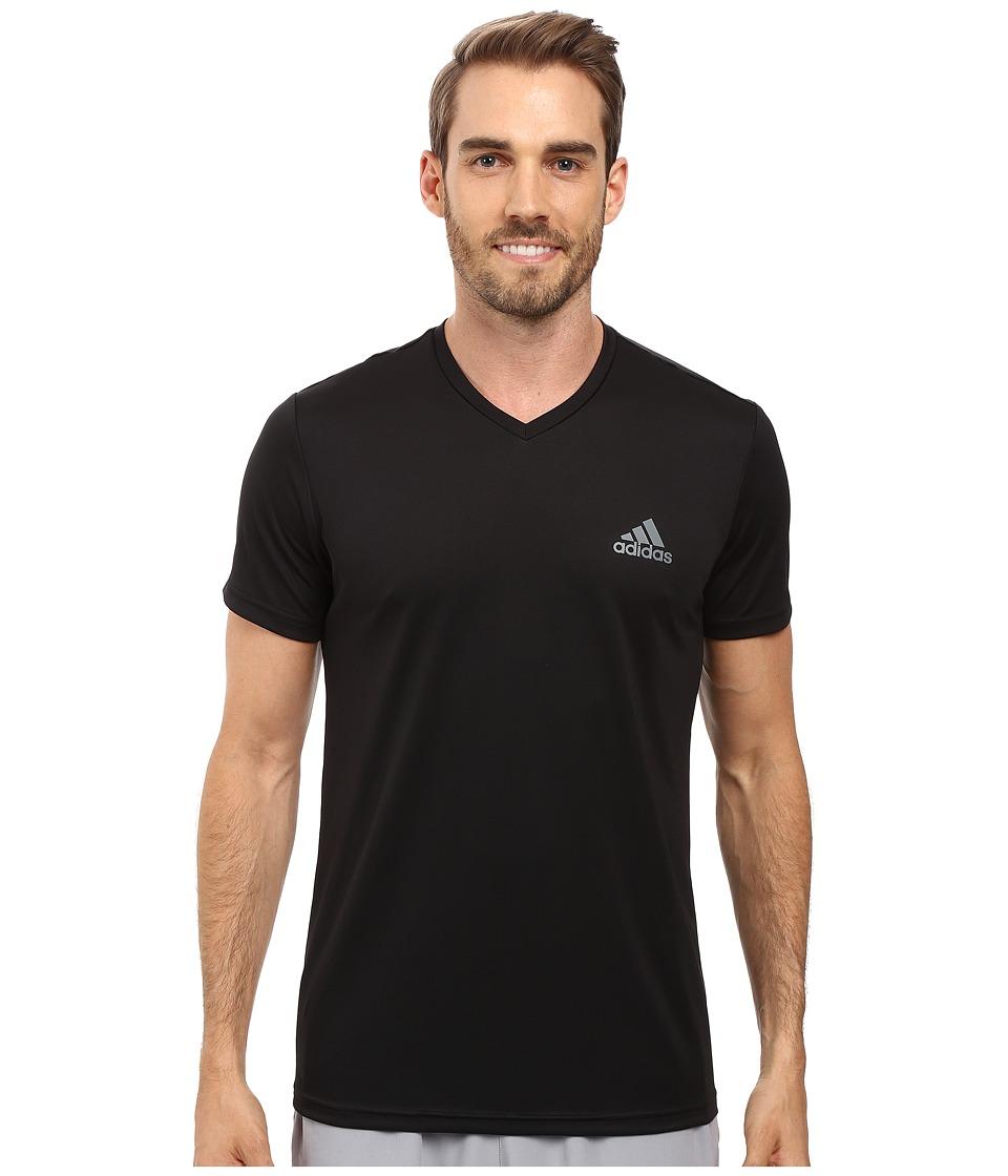 adidas Essential Tech V-Neck Tee (Black/Vista Grey) Men