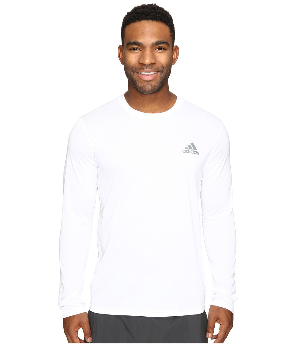 adidas Essential Tech Long Sleeve Tee (White/Vista Grey) Men