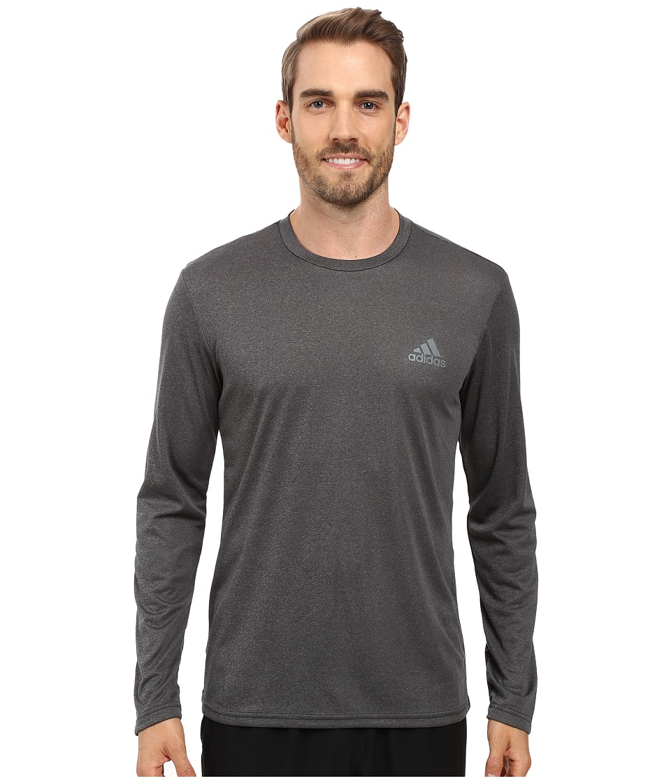 adidas Essential Tech Long Sleeve Tee (Dark Grey Heather/Vista Grey) Men