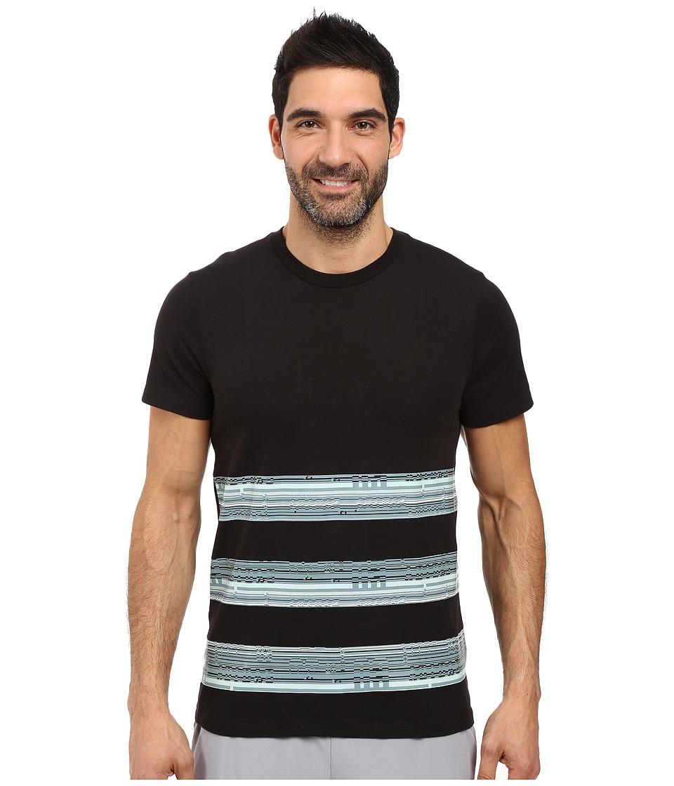adidas - Bold Stripe Glitch Tee (Black/Vapour Steel/Vapour Green) Men