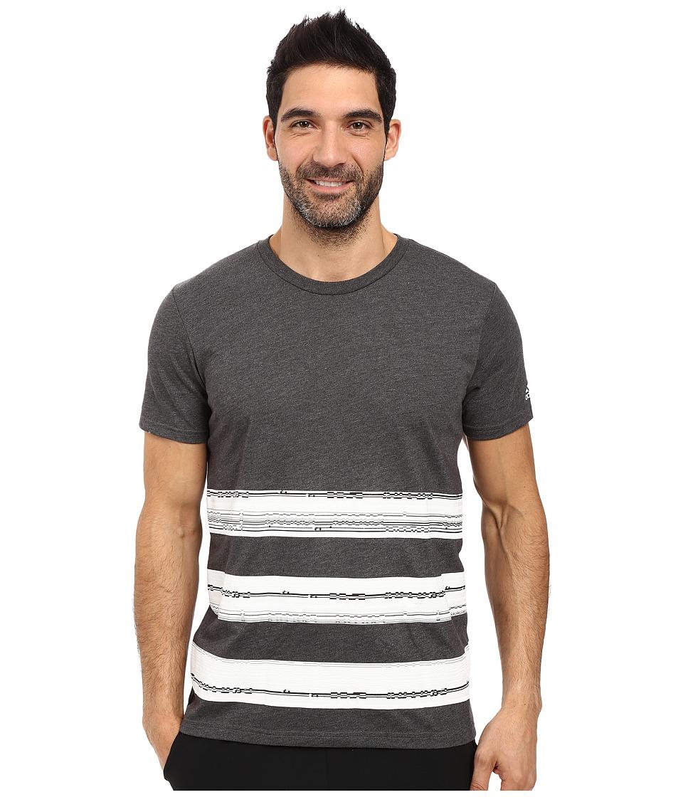 adidas - Bold Stripe Glitch Tee (Dark Grey Heather/White/Crystal White) Men