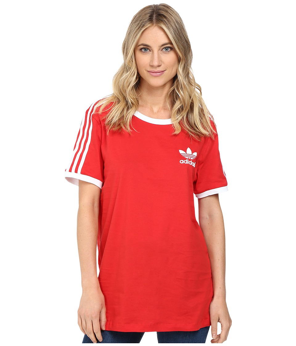 Image of adidas Originals - 3-Stripes Tee (Vivid Red/White) Women's Short Sleeve Pullover