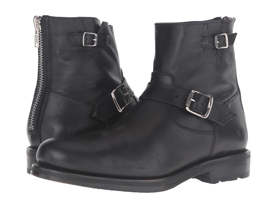 1950s Style Mens Shoes Frye - Brayden Engineer Black Washed Tumbled Full Grain Mens Boots $279.99 AT vintagedancer.com