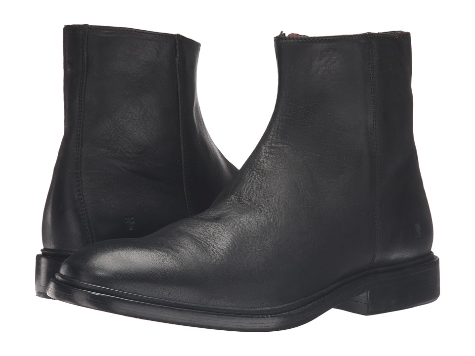 Frye - Chris Inside Zip (Black Tumbled Full Grain) Men