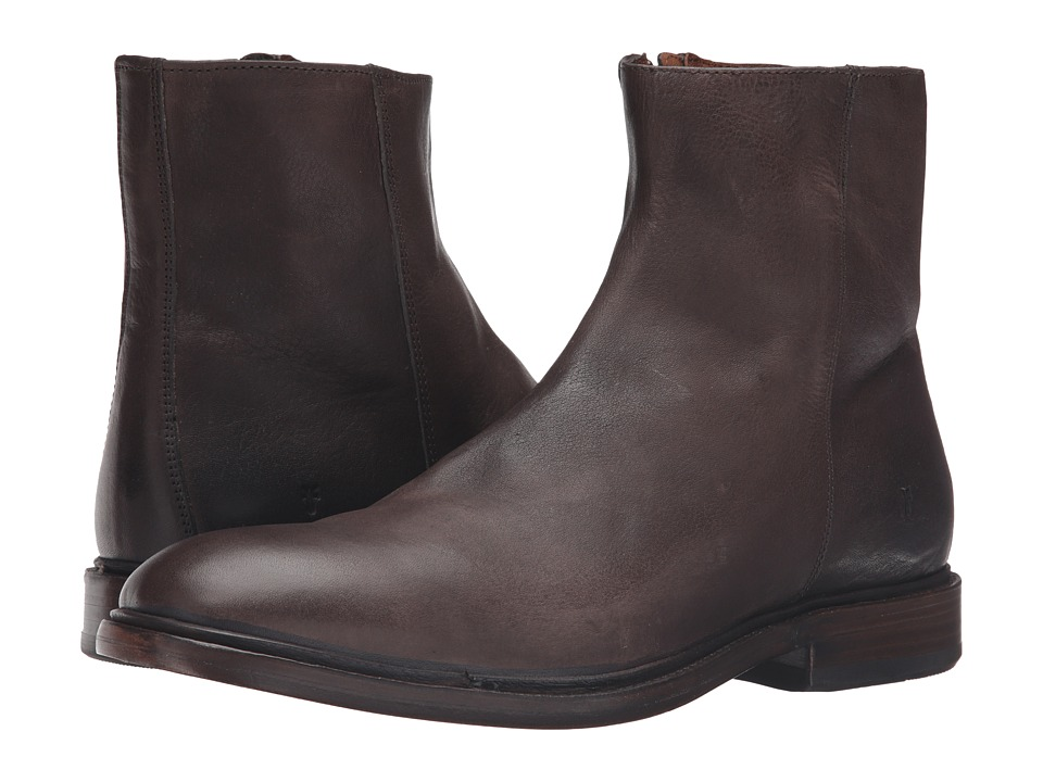 Frye Chris Inside Zip (Charcoal Tumbled Full Grain) Men