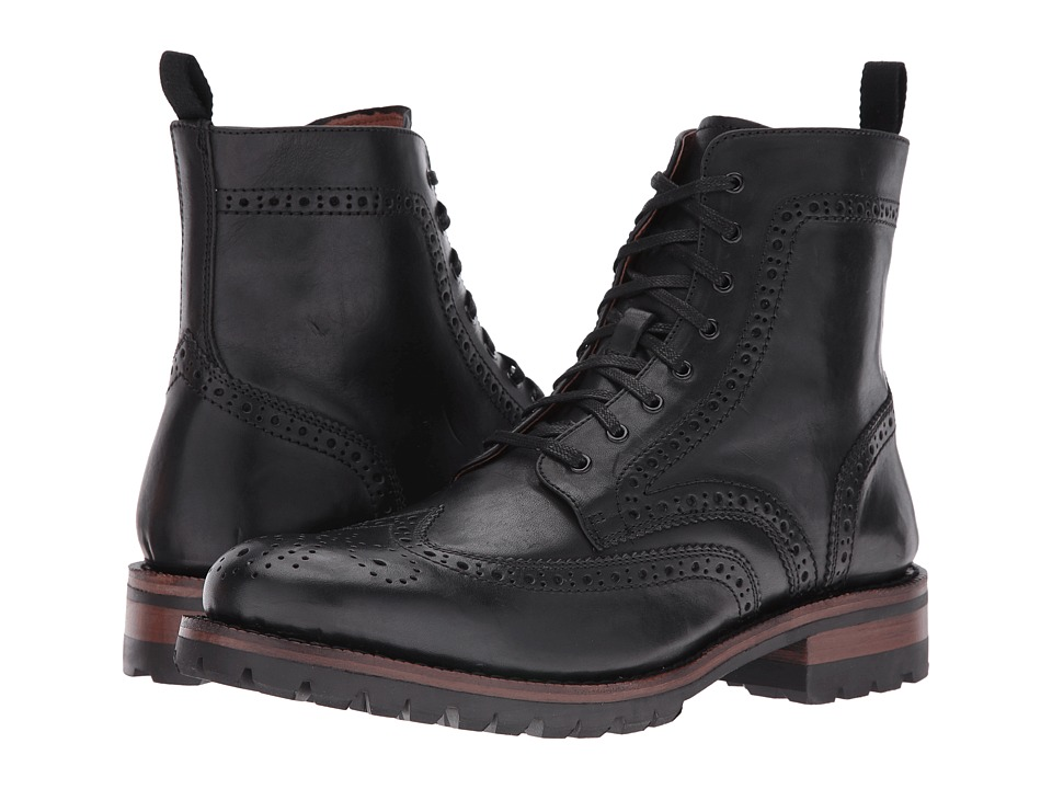 Frye George Lug Brogue Lace-Up (Black Vintage Pull-Up) Men