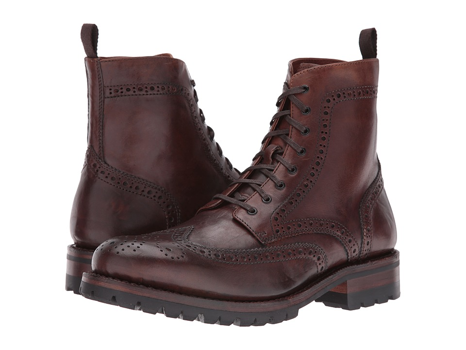 Frye George Lug Brogue Lace-Up (Cognac Vintage Pull-Up) Men