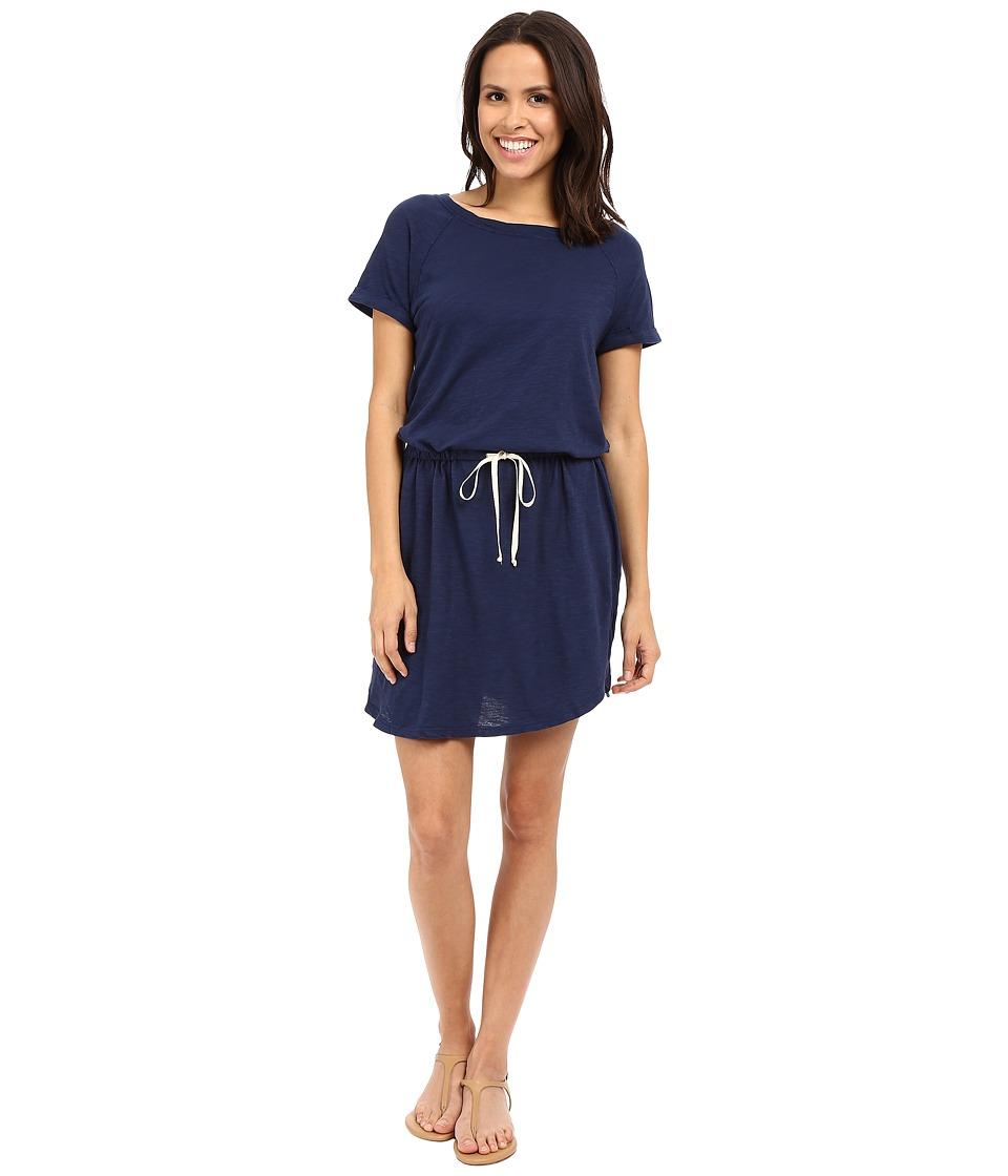 Allen Allen Raglan Roll Sleeve Dress Lapis Womens Dress