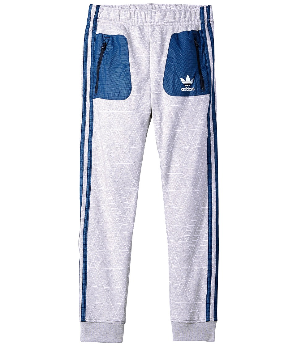Image of adidas Originals Kids - AOP Pants (Little Kids/Big Kids) (Medium Grey Heather/White/Legend Ink) Boy's Workout