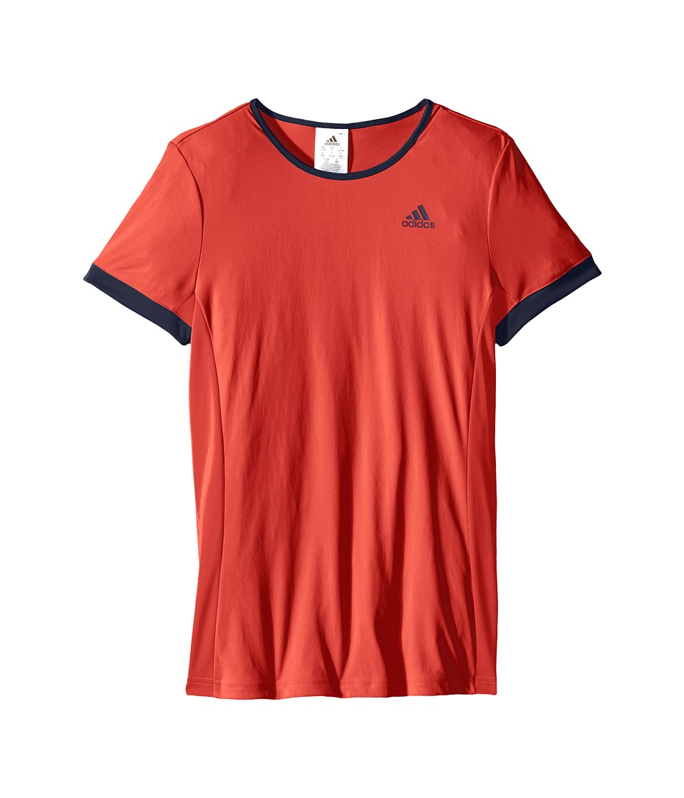 adidas Kids - Court Tee (Little Kids/Big Kids) (Ray Red/Collegiate Navy) Girl