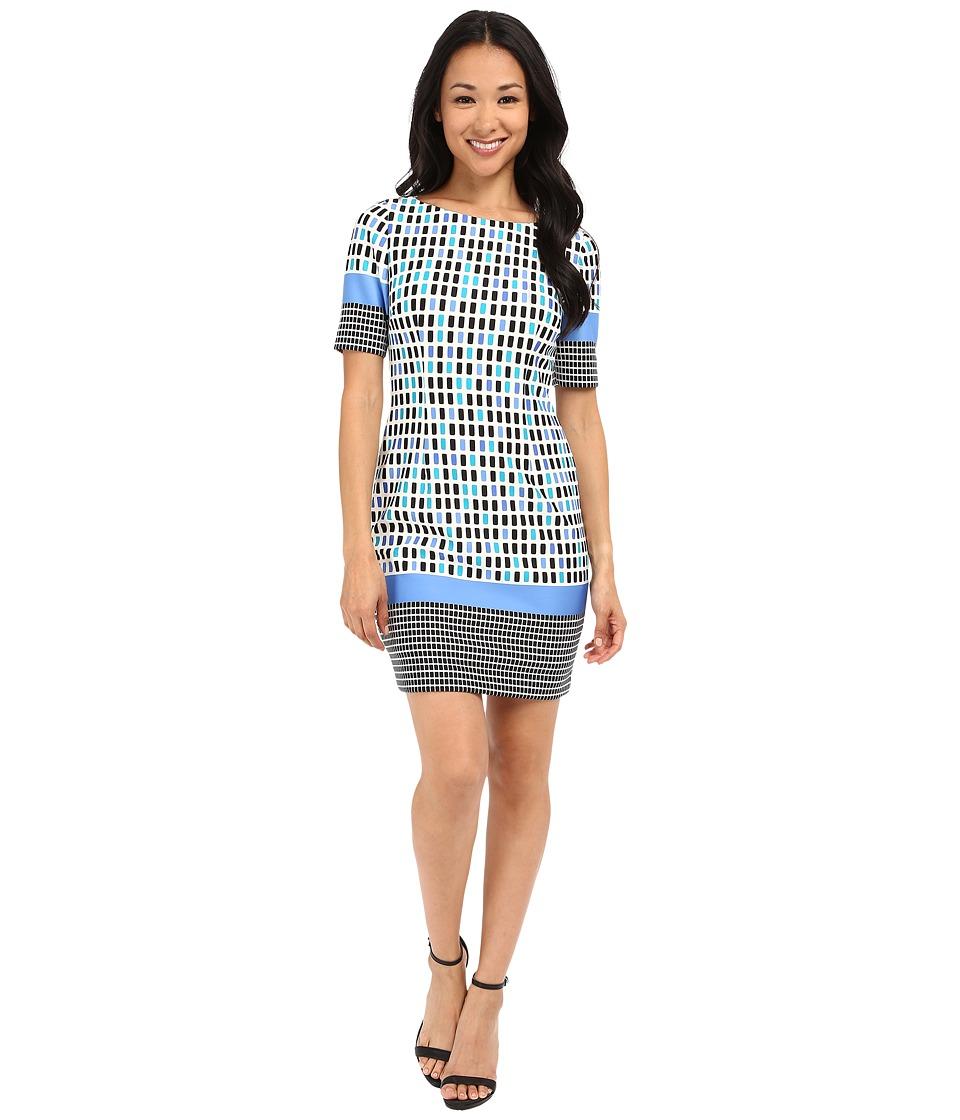 Tahari by ASL Petite Petite Printed Scuba Elbow Sleeve Dress Ivory/Blue/White Womens Dress