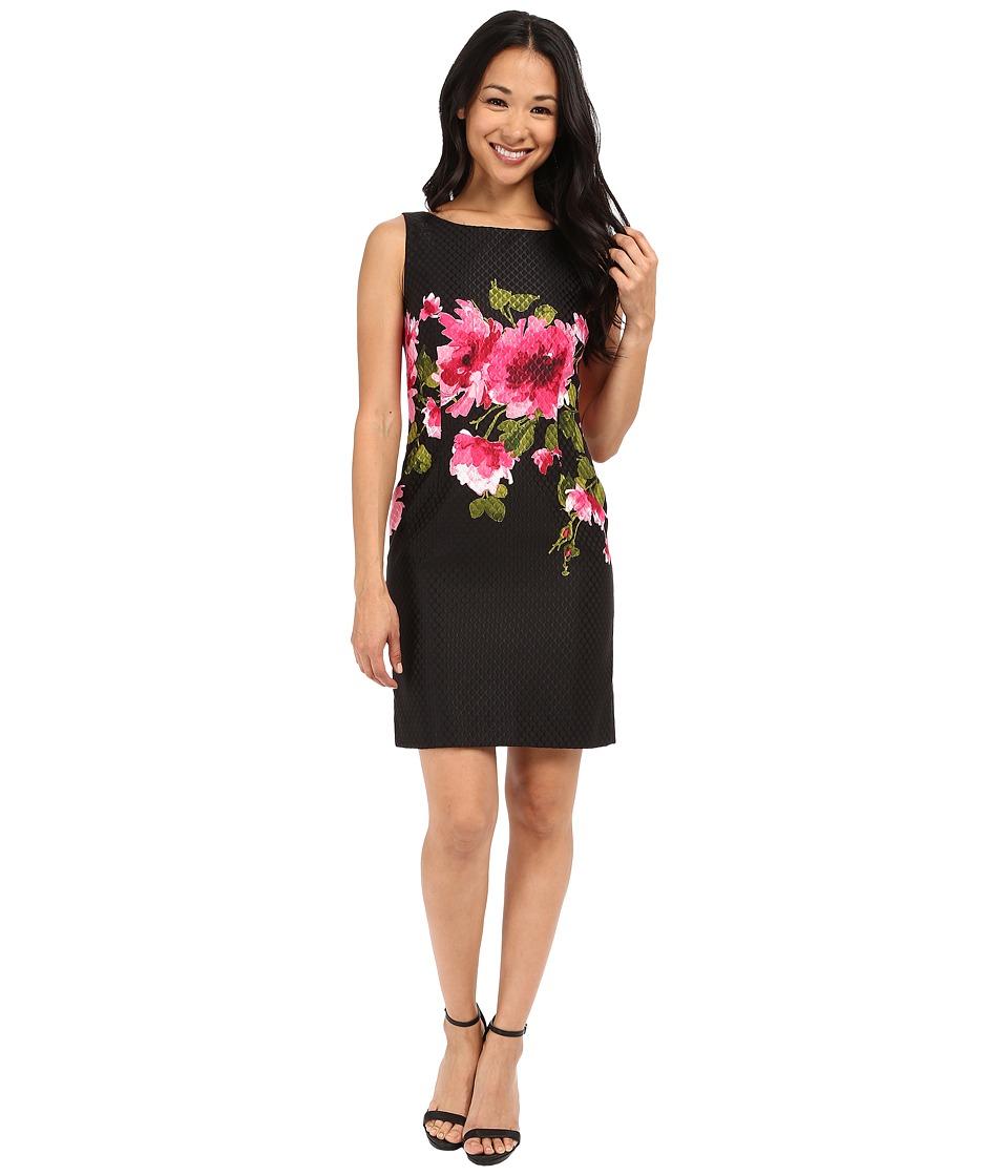 Tahari by ASL Petite Petite Floral Printed Jacquard Dress Black/Fuchsia Womens Dress