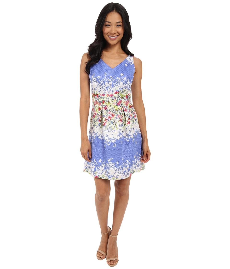 Tahari by ASL Petite Petite Floral Jacquard V Neck Fit and Flare Dress Peri/Ivory/Magenta Womens Dress