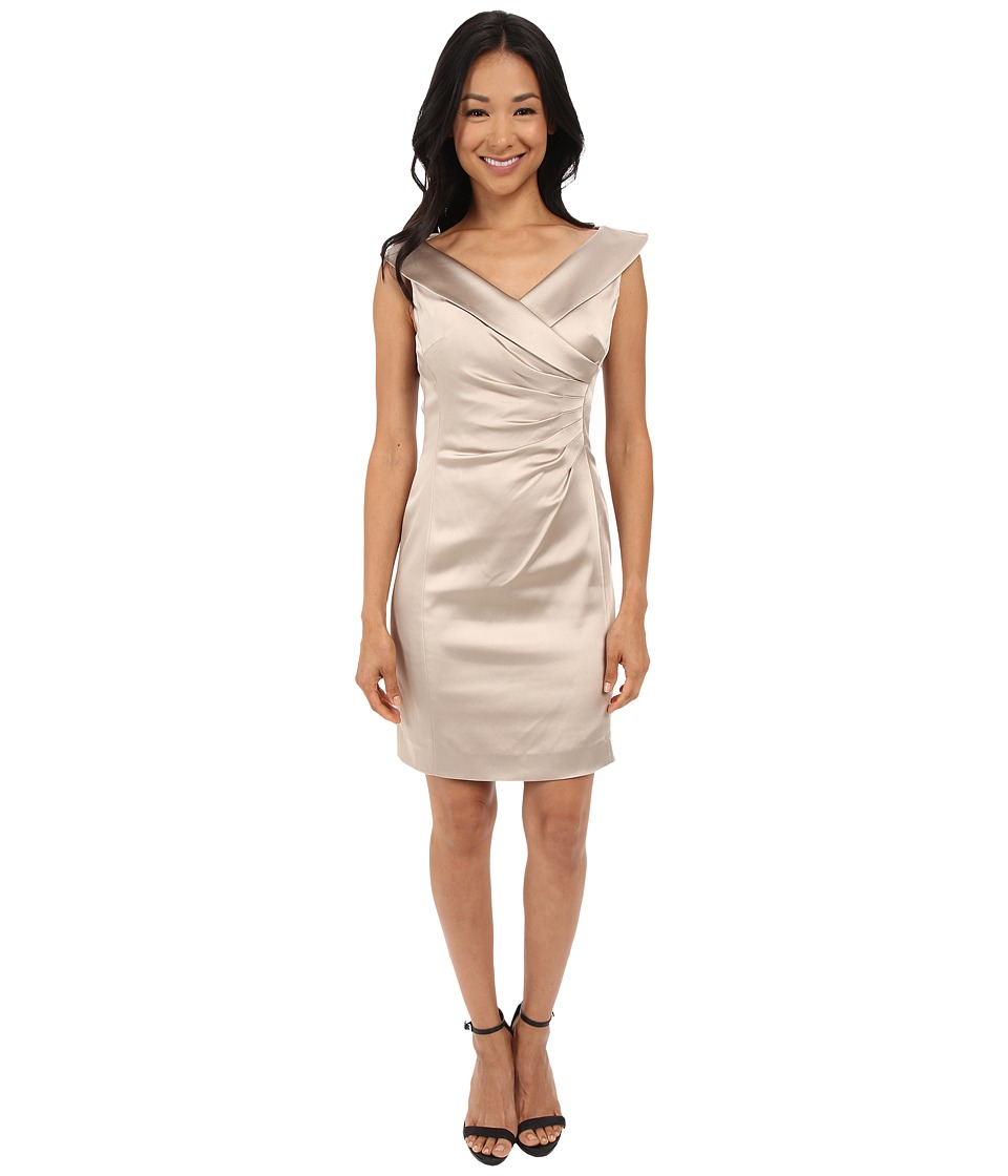 Tahari by ASL Petite Petite Stretch Satin Side Rouched Portrait Collar Dress Champagne Womens Dress