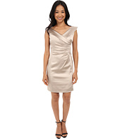 Tahari by ASL Petite - Petite Stretch Satin Side Rouched Portrait Collar Dress