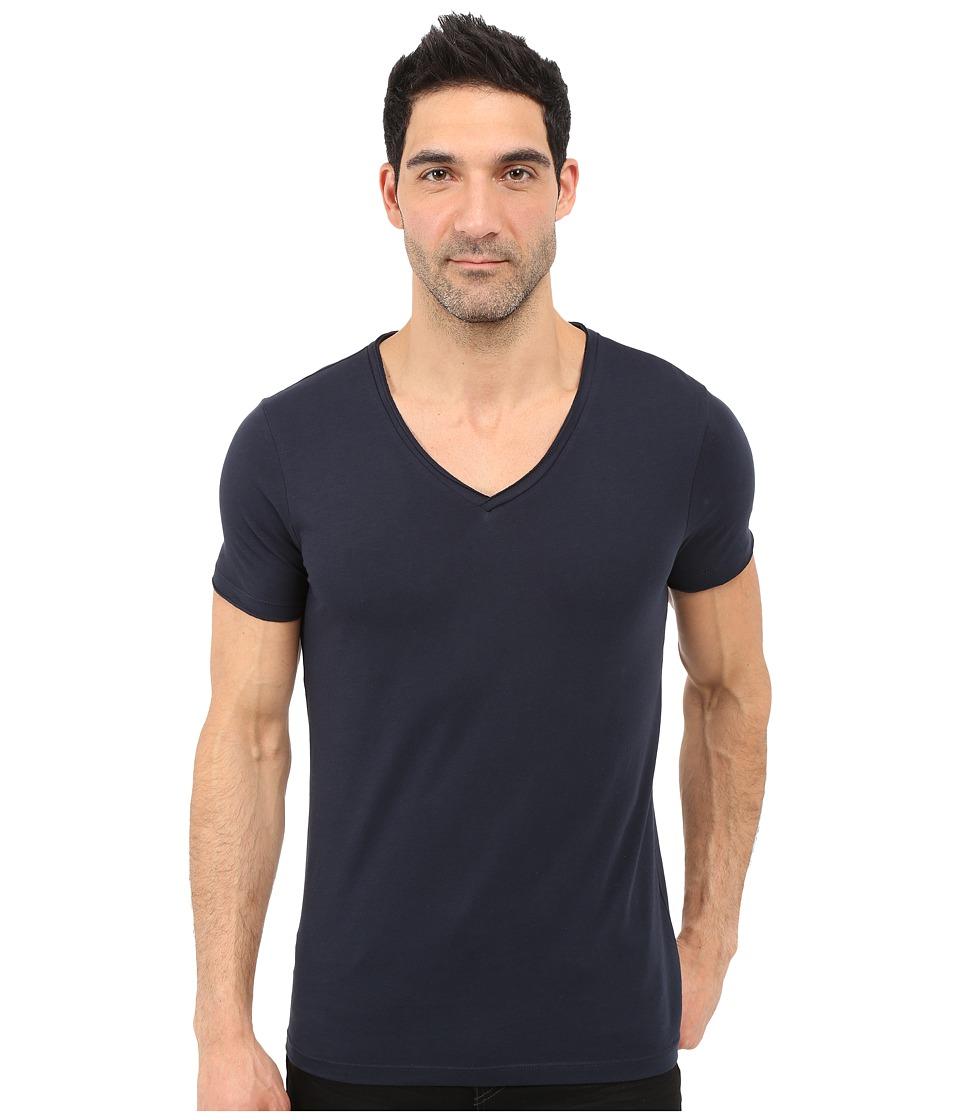 BOSS Orange - Tooley Jersey T-Shirt Short Sleeve V-Neck (Dark Blue) Men
