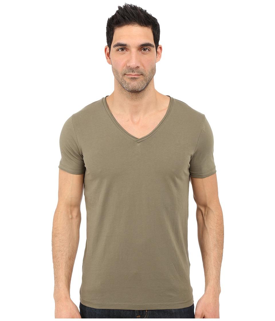 BOSS Orange Tooley Jersey T Shirt Short Sleeve V Neck Light Pastel Green Mens T Shirt