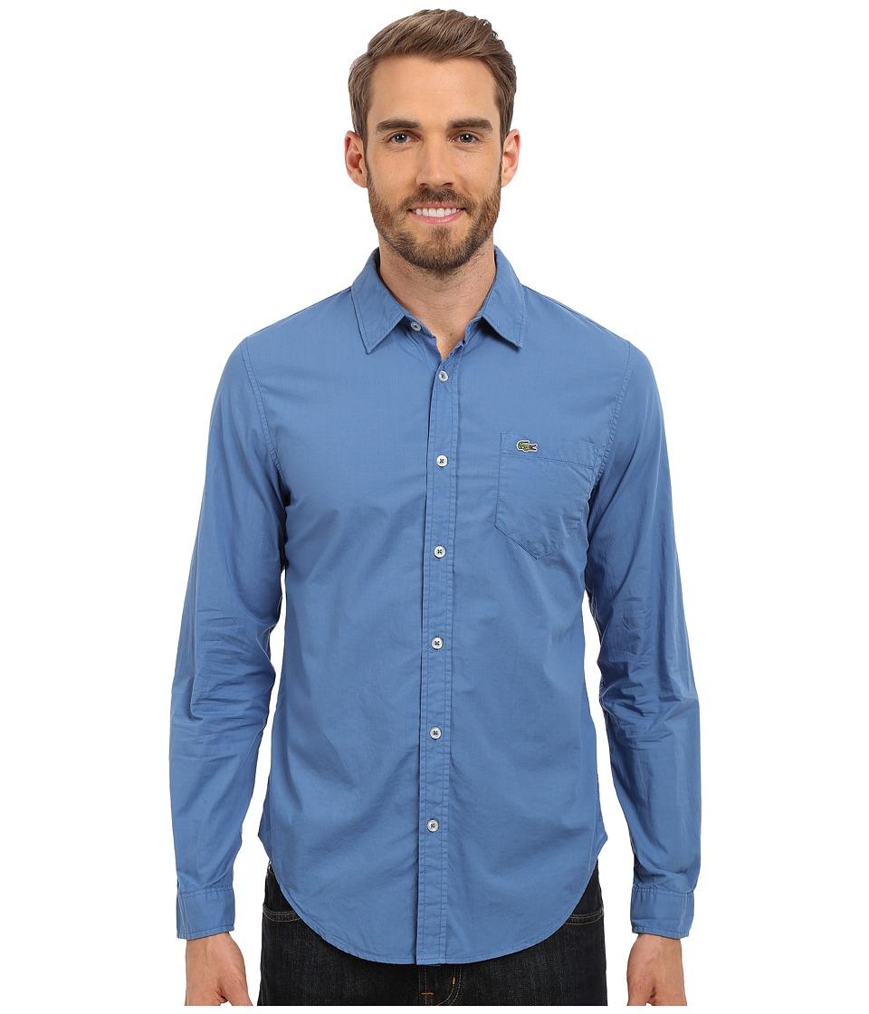 Lacoste - Poplin Cotton Slim Fit Shirt (Wave Blue Dyed) Men