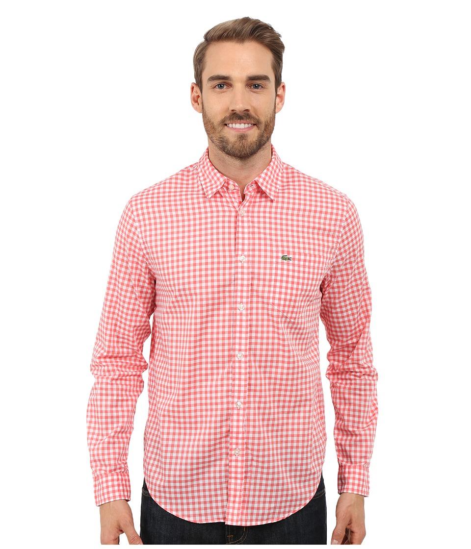 Lacoste - Cotton Voile Check Print Shirt (White/Sandalwood) Men