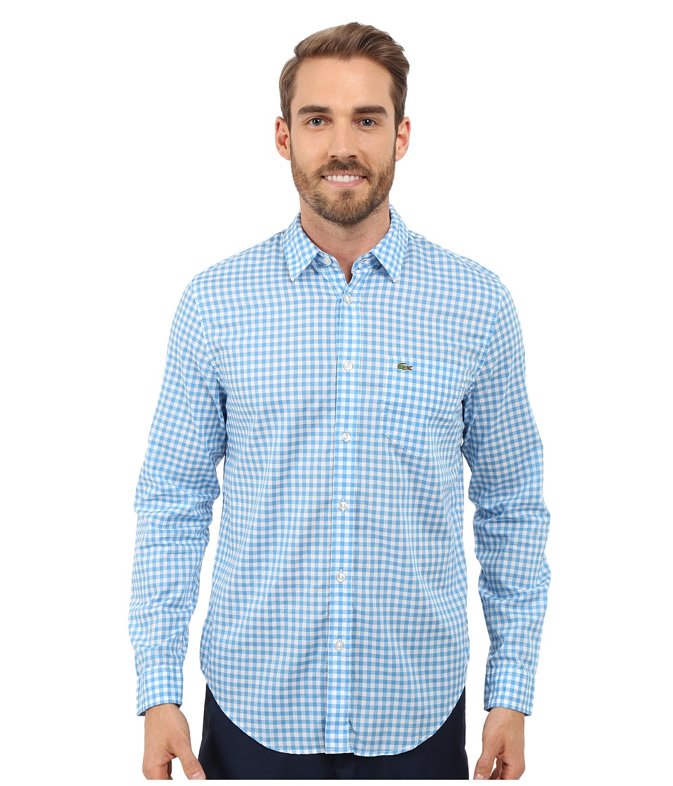 Lacoste - Cotton Voile Check Print Shirt (White/Spa Blue) Men