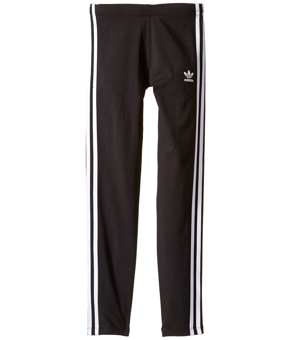 Image of adidas Originals Kids - Everyday Iconics 3-Stripes Leggings (Little Kids/Big Kids) (Black/White) Girl's Casual Pants