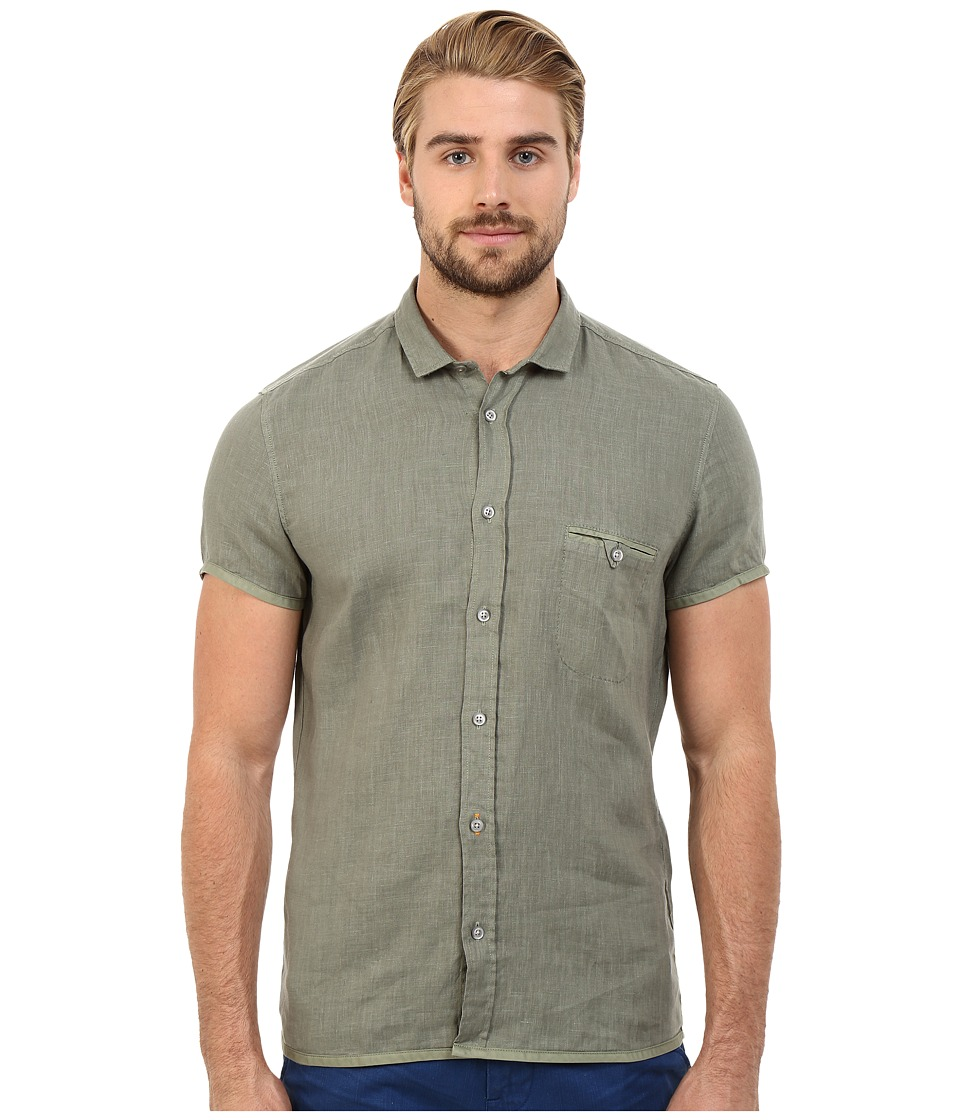 BOSS Orange EsushiE Button Down Shirt 10169252 01 Light Pastel Green Mens Short Sleeve Button Up