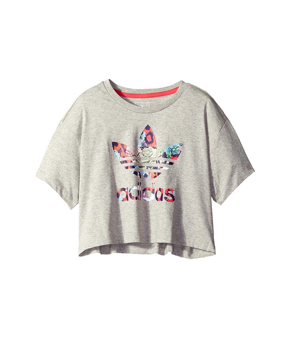 adidas Originals Kids - Everyday Iconics Rose Tee (Little Kids/Big Kids) (Medium Grey Heather/Multicolor/Fresh Pink) Girl