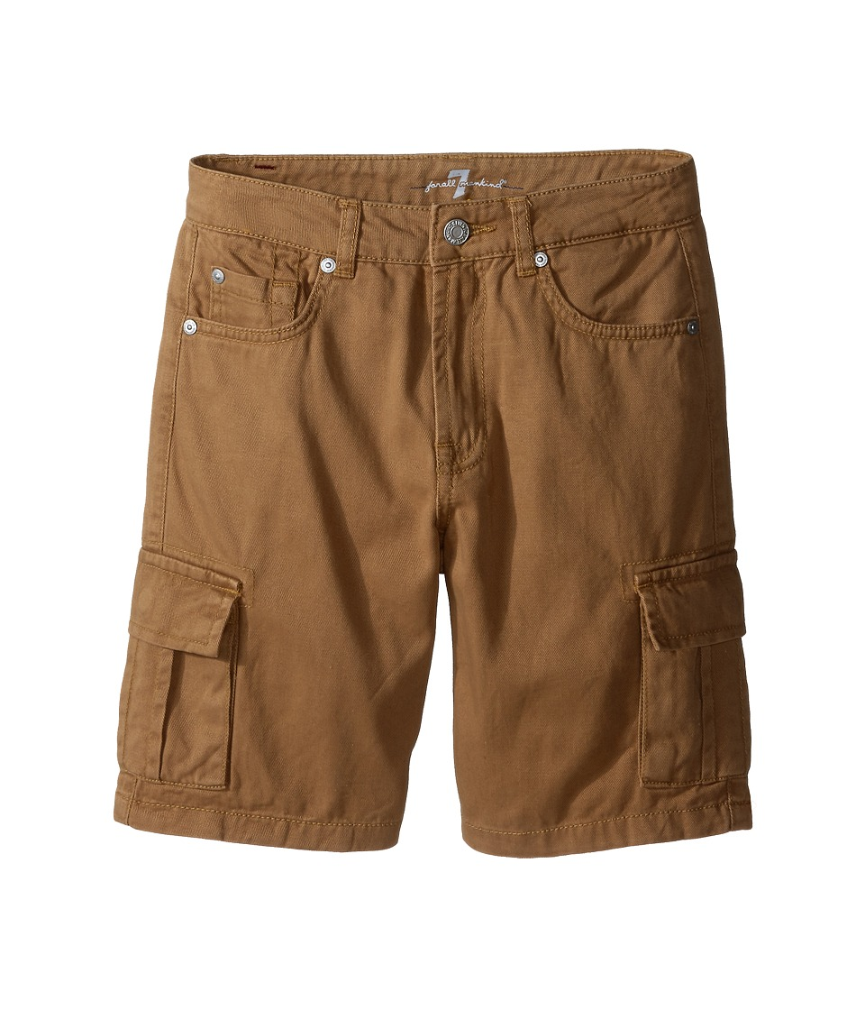 7 For All Mankind Kids Seven Pocket Twill Cargo Shorts Big Kids Khaki Boys Shorts