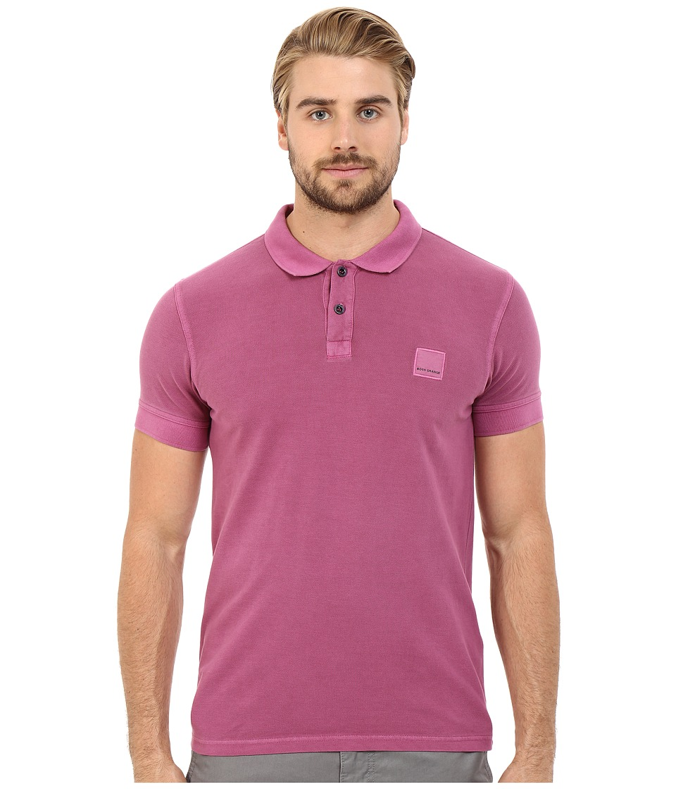 BOSS Orange Pascha Slim Fit Saltwash Piquet Polo Dark Purple Mens Short Sleeve Pullover