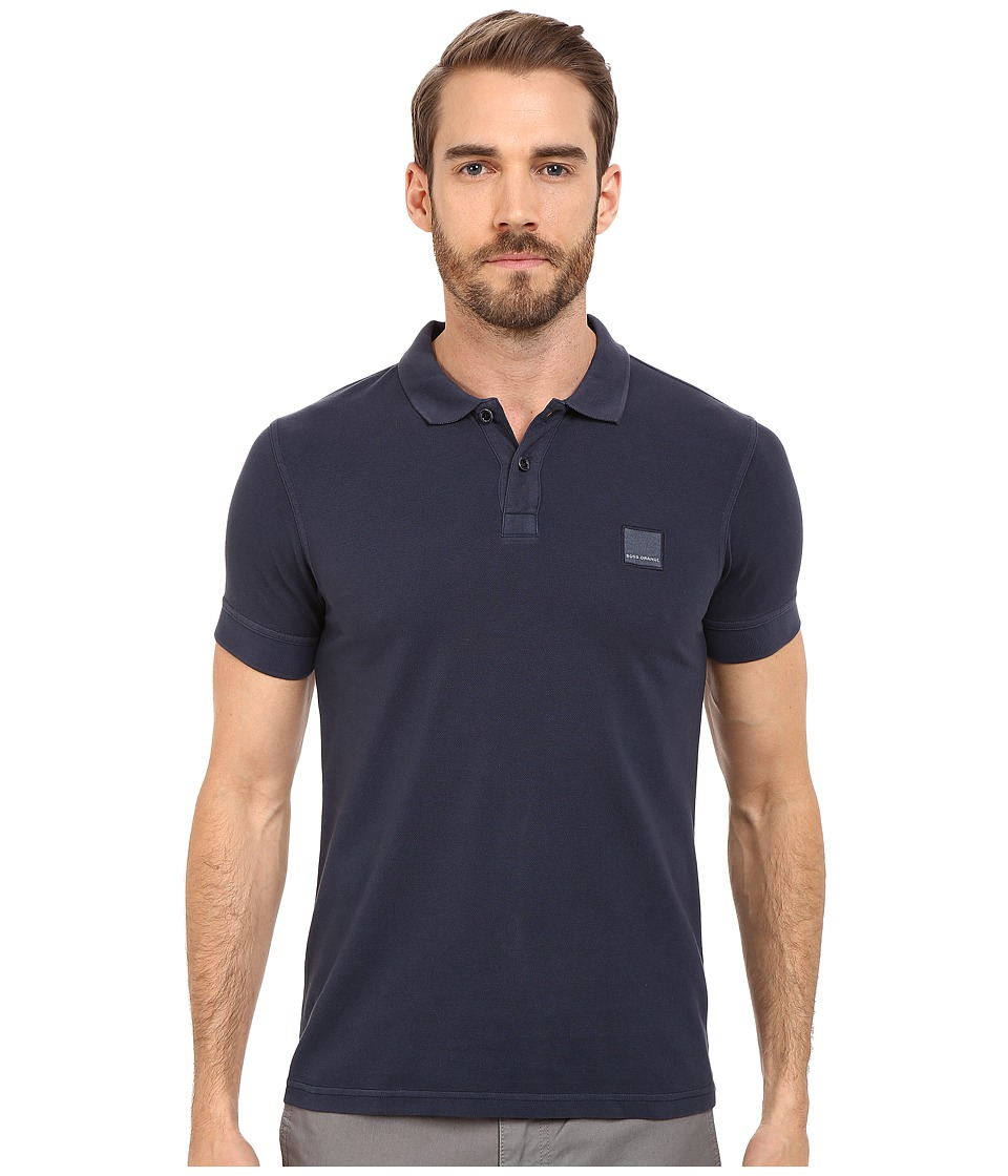 BOSS Orange Pascha Slim Fit Saltwash Piquet Polo Dark Blue Mens Short Sleeve Pullover