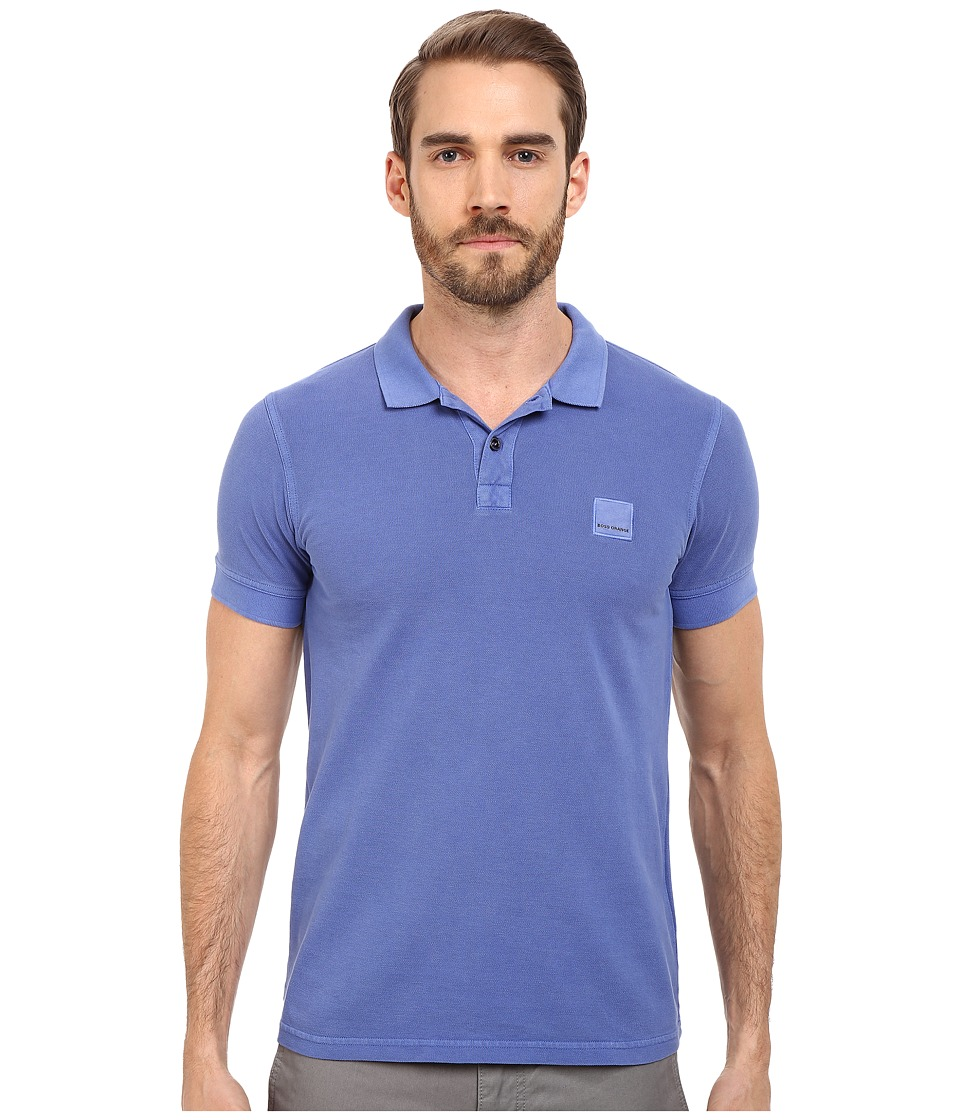 BOSS Orange Pascha Slim Fit Saltwash Piquet Polo Medium Blue Mens Short Sleeve Pullover