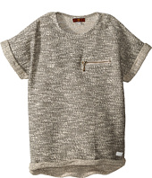7 For All Mankind Kids - Short Sleeve Marled Boxy Cropped Sweater with Zipper (Big Kids)