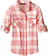 7 For All Mankind Kids - Plaid Roll Tab Sleeve Button Down Shirt with Piping (Little Kids)