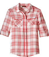 7 For All Mankind Kids - Plaid Roll Tab Sleeve Button Down Shirt with Piping (Big Kids)
