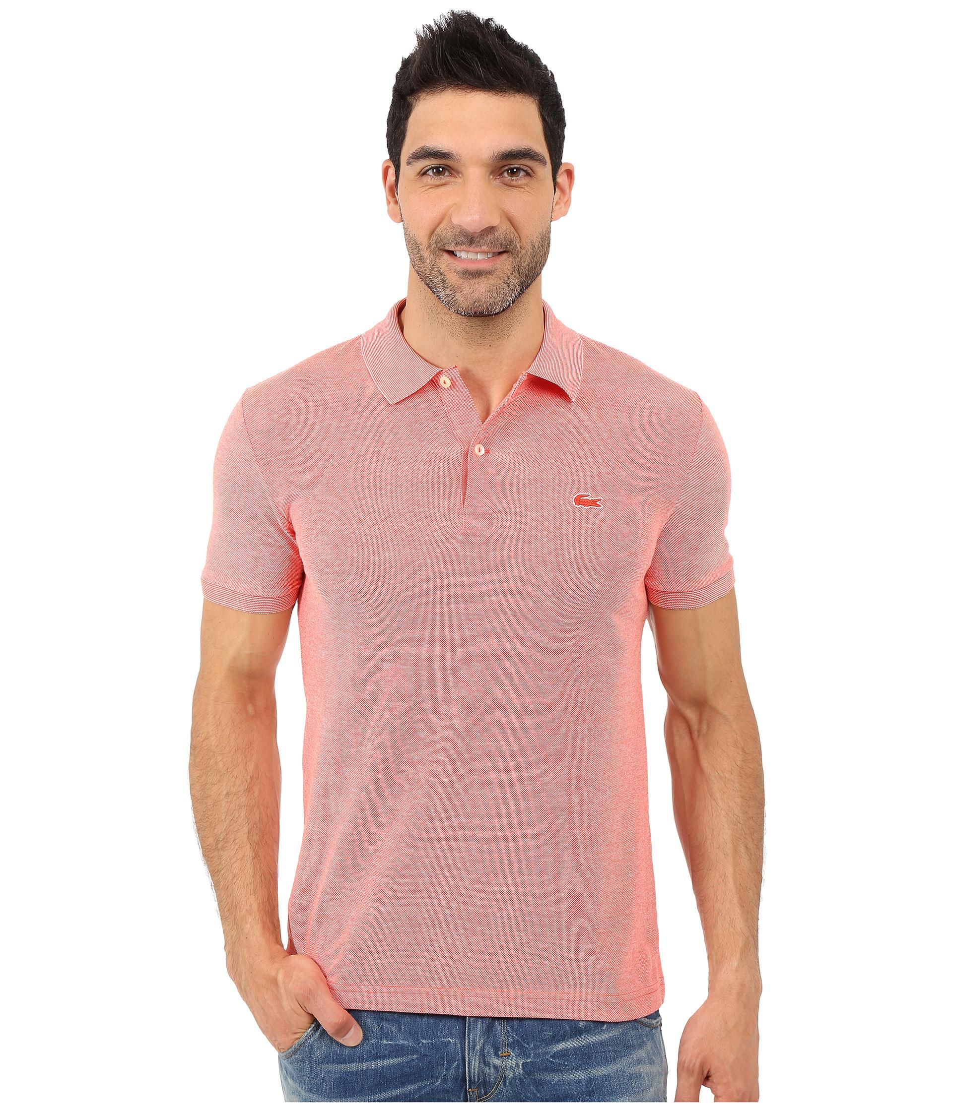 Lacoste caviar piqu polo shirt etna red flour zappos for Lacoste size 4 polo shirt
