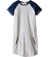 7 For All Mankind Kids - Reverse Jersey Rolled Cap Sleeve Striped Zipper Dress (Big Kids)