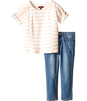 7 For All Mankind Kids - The Skinny Five-Pocket Denim Jeans and Reverse French Terry Rolled Cap Sleeve Striped Top (Toddler)