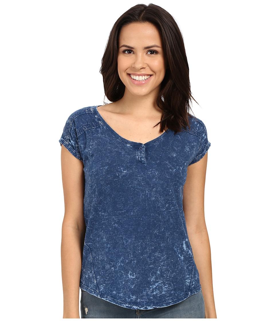 Mavi Jeans Cap Sleeve Henley Indigo Womens Short Sleeve Pullover