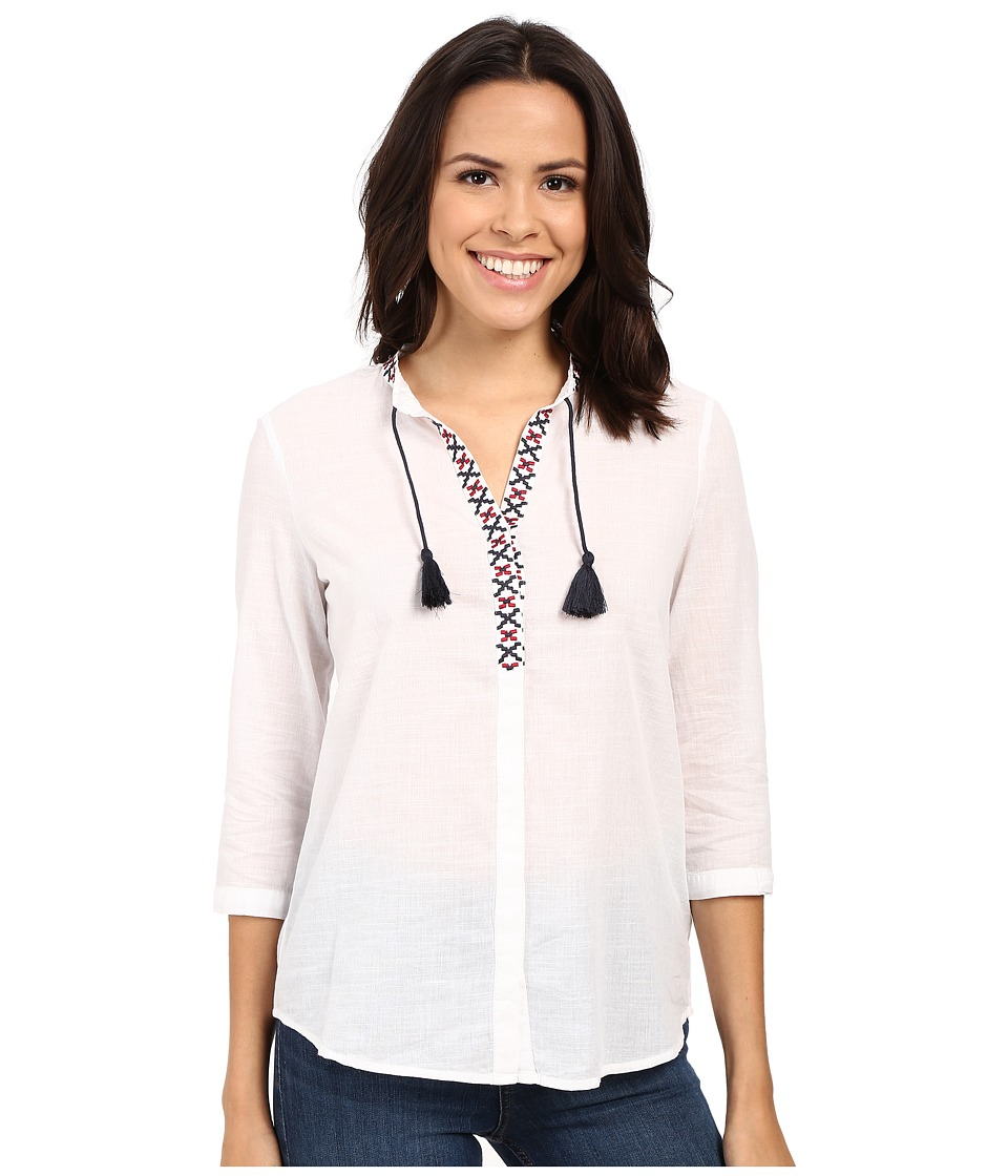 Mavi Jeans 3/4 Sleeve Embroidered Tassle Top White Womens Blouse