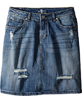7 For All Mankind Kids - Five-Pocket High Waisted Denim Skirt in Swiss Alps (Big Kids)