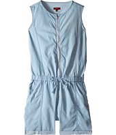 7 For All Mankind Kids - Sleeveless Chambray Zip Front Romper
