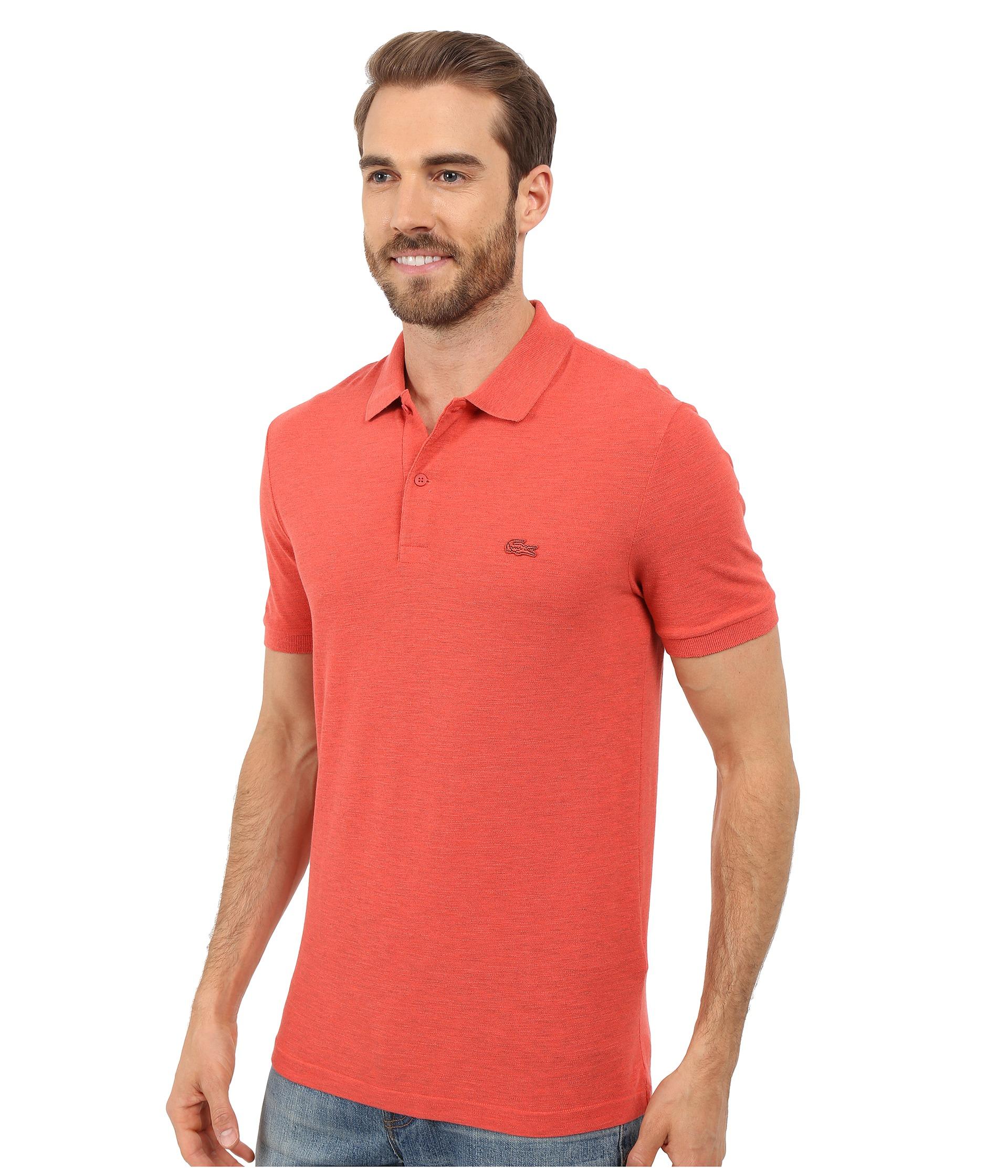 Lacoste short sleeve garment dyed slub pique polo shirt for Short sleeve lacoste shirt