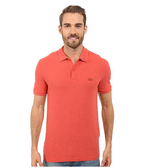 Lacoste Short Sleeve Garment Dyed Slub Pique Polo Shirt - Sandalwood Dyed